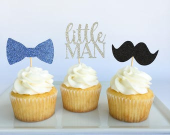 Little man cupcake toppers | Mustache cupcake toppers | Little man party | Mustache party | Little Man baby shower | Mustache baby shower