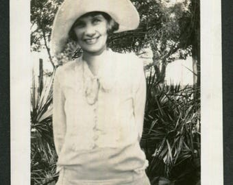 Vintage Snapshot Photo Happy Smiling Woman Wearing Sassy Hat 1930's, Original Found Photo, Vernacular Photography