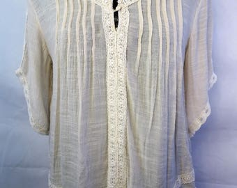 beige white Laced peasant top