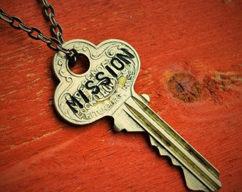 "Hand Stamped Vintage Key ""MISSION"" Necklace (#331) - Jewelry Necklace Pendant Custom"
