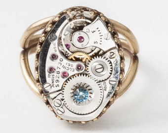 Steampunk Ring Vintage Silver Elgin Watch Movement with Gears & Blue Aquamarine Crystal Gold Filigree Statement Ring Adjustable Band Jewelry