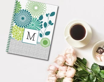 Floral Traditionalist Monogram Personalized Spiral Notebook, Custom Notebook, Personalized Sketchbook, Personalized Journal