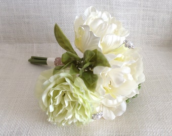 Lovely Petite Bouquet/ Romantic Wedding Bouquet/ Ivory and Green