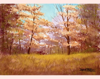 fall trees watercolor landscape painting ORIGINAL watercolor forest tree colors peach lavender watercolour paintings 7x10
