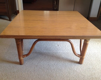 Mid Century Rattan and Formica End Table by Calif-Asia