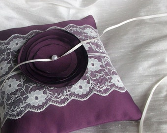 Purple Ring Bearer Pillow/Cushion  Bridal Satin With a Strip of Ivory  Lace and Fabric Flower