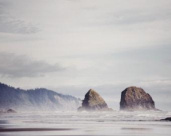 "Beach Print, Beach Decor, Ocean Photography, Coastal Wall Art, Landscape Print, Ocean Print, Cannon Beach Oregon, Nature ""West Coast Blues"""