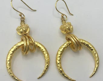 Gold Plated Moon Earrings with Bali Bead