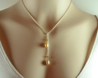 Peach Pearl Necklace - Blush Pink Pearl - Pearl Lariat Necklace - Amber Crystal Necklace - Silver Y Necklace - June Birthstone Jewelry L1025