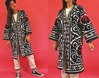 vintage Suzani Hand Embroidered Uzbek Folk Robe Duster Jacket