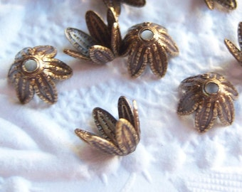 Antique brass leaf petal bead caps, lot of (12) - BV204