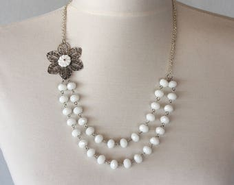 Christmas gift, bridal jewelry vintage inspired asymmetrical necklace flower necklace bridesmaids necklace white jewelry gift for her