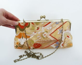 Clutch bag, metallic gold decorative vintage Japanese obi fabric, evening purse