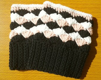 Crochet Boot Cuffs: Black, Pink and White