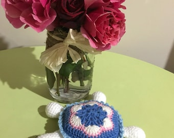 Handmade Crochet Tiny Turtle Rattle MADE TO ORDER