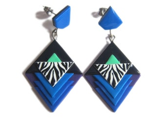 Geometric Earrings, Royal Blue Earrings, Zebra Pattern Earrings, Zebra Jewelry, Cobalt Blue Earrings, Long Stud Earrings, Retro Earrings