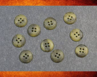 Buttons - 10 Brown and Tan Matte Tortoise Style Small Round Buttons for sewing and crafts. BUT-041
