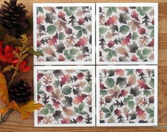 Leaves Coasters - Coaster - Tile Coaster - Coasters for Drinks - Coasters Tile - Fall Decor - Handmade Coasters - Coasters - Drink Coasters