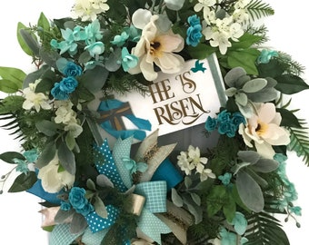 Easter Wreath-Easter Grapevine Wreath-Turquoise Easter Wreath-Aqua Easter Wreath-Christian Wreath-He is Risen Wreath-Camelia Wreath