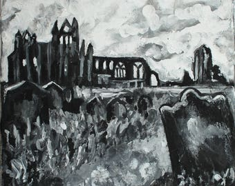 Whitby Abbey - Painting Photo Print, Whitby painting, black and white landscape, Gothic art, lanscape painting, black and white art, Dracula