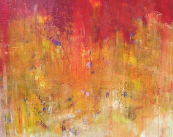 Morning Sunrise - original oil painting, abstract art, abstract painting, art lover, red painting