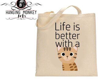 Bengal Cat gifts, Bengal Cat tote Bag, Bengal Cat Shopper, Bengal Cat eco bag, eco friendly bag, cotton shopper with long handles
