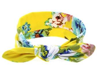 Flower Knot yellow baby Headband