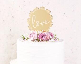 Wedding Cake Topper Love Gold Mirror