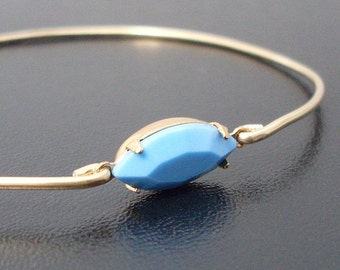 Bangle, Blue & Gold Tone, Unique Jewelry, Women's Bracelet, Wedding Jewelry, Bridal Jewelry