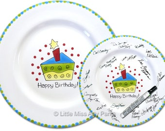 Free Shipping - Hand Painted Signature Birthday Plate - Funky Cake - Happy Birthday Plate - 1st Birthday - Birthday Cake - Birthday Gift