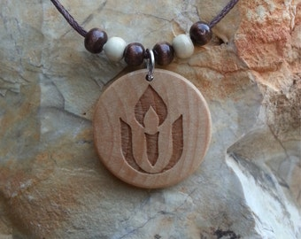 Round UU Chalice Engraved Wood Necklace
