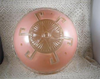 Vintage Glass Ceiling Shade, 1930s-40s, Flush Mount, Peach/Pink color