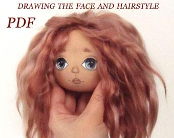 Drawing Doll Face - Doll Face - Drawing - Doll Patterns - Rag Doll Pattern - Sewing Patterns - Blank Doll Body - Rag Doll - Textile Doll