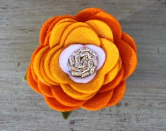 Pumpkin Ombre Felt Flower Clip
