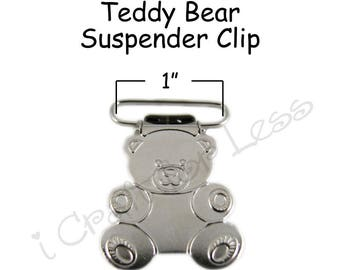 50 Metal 1 Inch Teddy Bear Suspender Clips - w/ Rectangle Inserts - Lead Free - plus Pacifier Holder Instructions - SEE COUPON