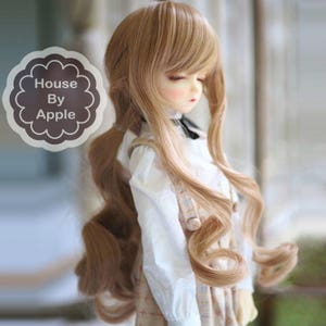 BJD Long wavy hair high temperature heat resistant fiber wig with Silicone Headcap for  1/3 SD 1/4 msd 1/6 yosd doll wig