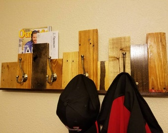 Reclaimed Recycled Pallet Wall Coat Rack - Upcycled wood wall art with hooks