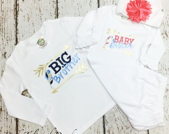 Sibling set, little sister shirt, big brother shirt, baby sister, Brother sister shirts, Big little set, Htv shirts