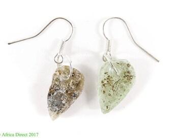 Ancient Roman Glass Earrings Beads Green  Afghanistan 115050