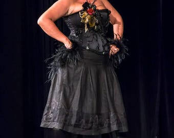 corset black satin with flowers