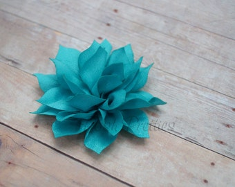 Turquoise Mini Flower Hair Clip- Lotus Blossom - With or Without Rhinestone Center