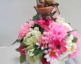 Silkflower arrangement Centerpiece Spring with birds figurine OOAK