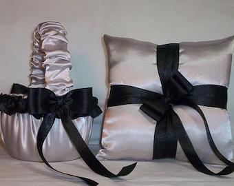 Silver Satin With Black Ribbon Trim Flower Girl Basket And Ring Bearer Pillow Set 2