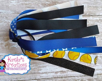 Blue and Black Softball Ponytail Streamers,Black and Blue Softball Ponytail Streamers,Softball Hair Bows,Navy Blue and Black Softball Bows