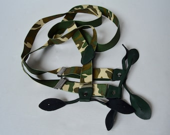 Suspenders Military Camo Print Button Suspenders Braces Vintage Green Army Camouflage Suspenders Adjustable With Button Holes