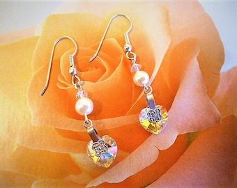 Vintage 5 cm Pearl and Aurora Borealis swarovski crystal heart earrings