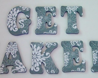 """Wood Letters- 7"""" Decorated Letters- """"GET NAKED"""" Bathroom Decor- MANY designs available-Design G1"""