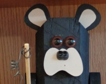 Bear, Black Bear, Black Bear decor, Cabin Decor, Bear with fishing pole