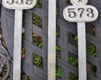 Antique Grave Plot Markers House Number Garden Edging zinc metal from Ireland gothic steampunk (X)