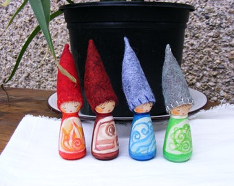 The Four Elements Fire Earth Water Air A Set Of Four Peg Dolls Waldorf Inspired hand Craft
